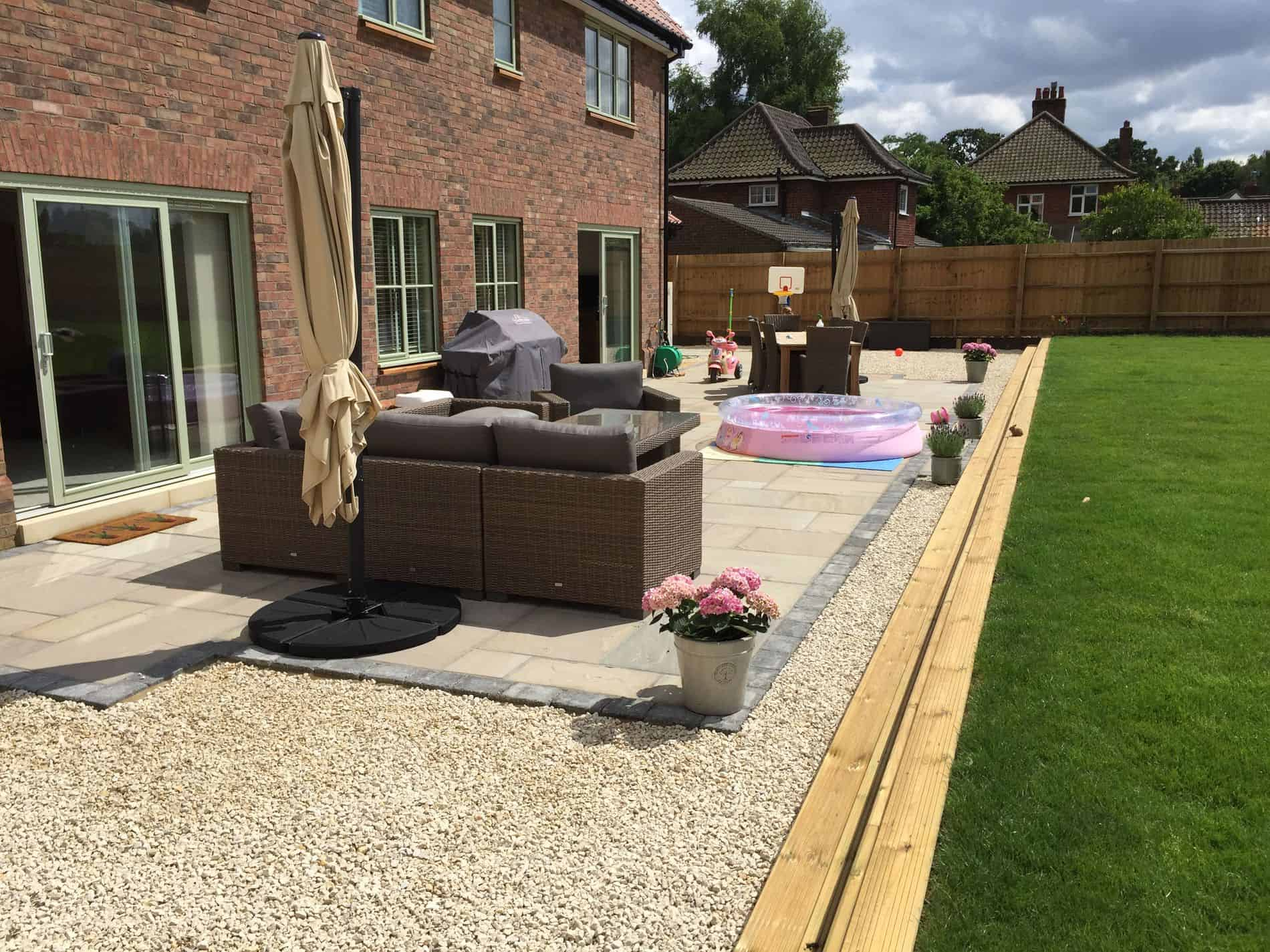 Raj green patio area with charcoal block edging brooke for Garden decking norwich