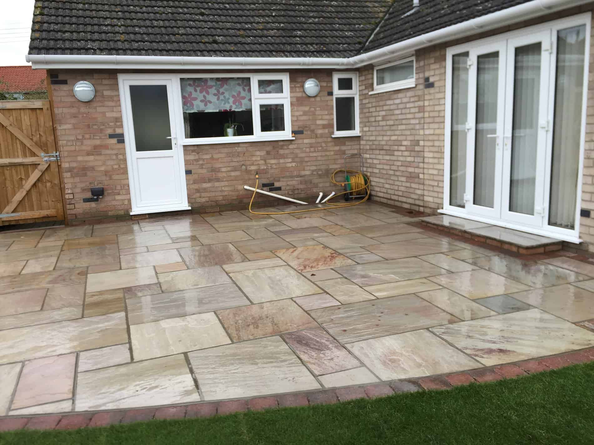 Raveena Indian Sandstone Patio Area With Burnt Amber