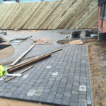 Charcoal Chelsea set paviours laid for walkway