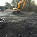 Digging up area for non slip concrete yard 2