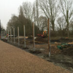 Galvanised posts being cemented into the ground