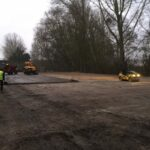 Compacting hardcore for the new concrete yard 2
