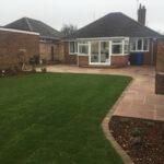 Freshly laid lawn turf with Modak paving - Lowerstoft