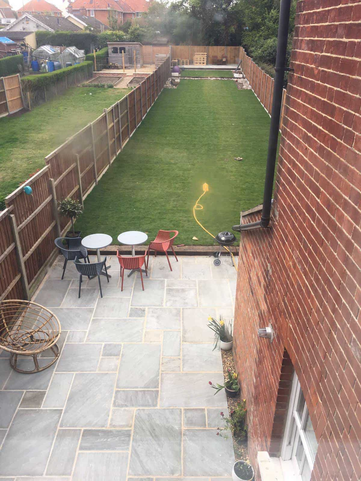 Completed job grey patio area and new turf loddon for Garden decking norwich