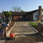 Hardcore base being laid ready for tar and chip driveway - Halesworth
