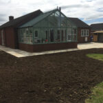 Fossil Mint patio area with new flower beds - Halesworth