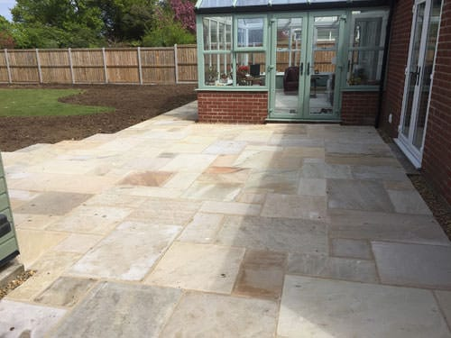 Fossil mint patio area halesworth garden landscaping for Garden decking norwich