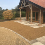 10mm Golden Pea Shingle with Sun Rise Chelsea set edging - Old Buckenham