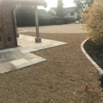 Fossil Mint patio with 10mm Golden Shingle beds and Sun Rise Chelsea set edging - Old Buckenham