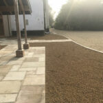 Fossil Mint patio area with 10mm Golden Pea Shingle beds - Old Buckenham