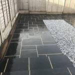 Finished patio area with sleeper edging - Norwich
