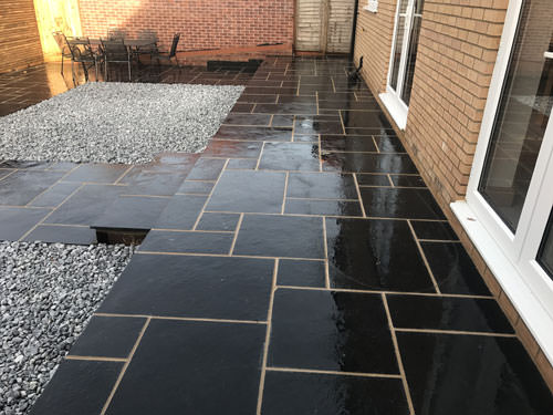 Terraced paving area with steps - Norwich