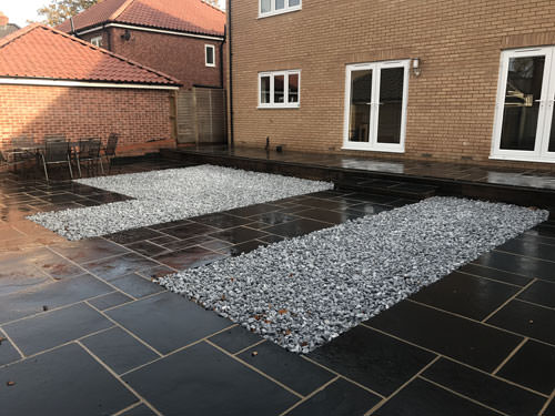 Black limestone patio area with ice blue cobbles norwich for Garden decking norwich