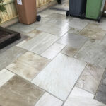 Grey Indian sandstone patio with Charcoal edging - Stalham, Norfolk