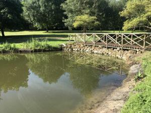 Stone retaining wall with bridge - Norfolk