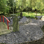 Purple slate feature area and walkway bridge - Norfolk