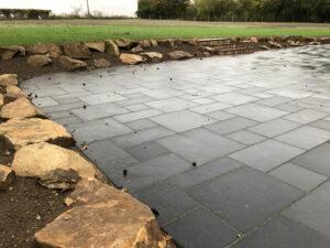Charcoal limestone patio area 2 - Forncett, Norfolk