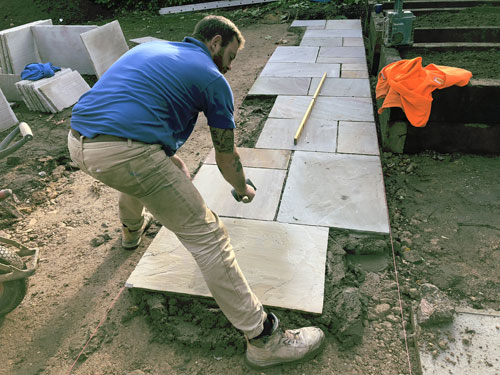 Laying Ravenna slabs - Old Buckenham, Norfolk