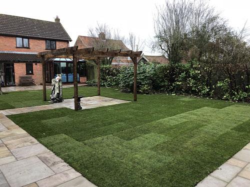 Newly laid lawn turf - Old Buckenham, Norfolk