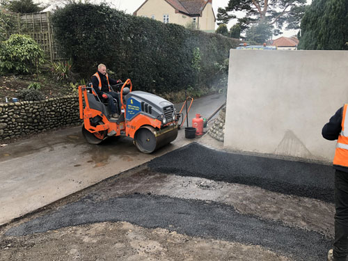 Rolling in the stone mastic asphalt - Aylsham