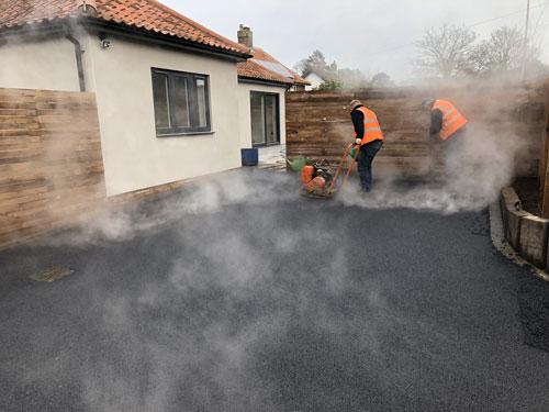 Compacting the stone mastic asphalt - Aylsham