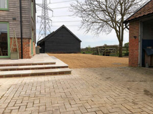 Raj Green patio area with tar and shingle - Ipswich