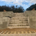 Rendered concrete walls