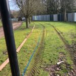 Marking out the pathway shape with wooden gravel boards 2 - Norwich